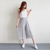 韓雙層雪紡闊腿褲女直筒高腰寬鬆大碼九分褲