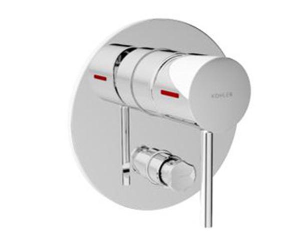 【麗室衛浴】美國 KOHLER CUFF 附牆浴缸花灑開關面板40mm(鉻)  K-37310T-4-CP