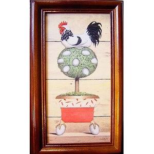 《金雞下蛋(白)》直式原木鑰匙盒keybox壁飾寬x高19x31cm厚度6.5cm