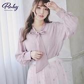 上衣 素色綁帶燈籠袖長袖上衣-Ruby s 露比午茶