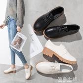 牛津繫帶小皮鞋女英倫風學院中跟粗跟黑色新款單鞋女工作鞋女 海角七號