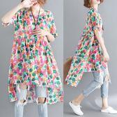 洋裝 連身裙中大尺碼女裝前短后長不規則高腰寬鬆彩色波點印花短袖連衣裙