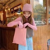 純色褶皺包包環保購物袋百搭單肩手提包上課帆布包【聚可愛】