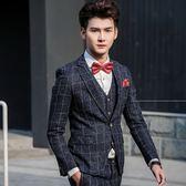 西裝套裝含西裝外套+西裝褲(三件套)-歐美紳士方格造型婚禮男西服73hc82[時尚巴黎]