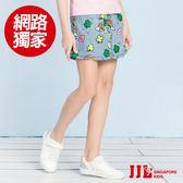 網路獨家-JJLKIDS 女童 繽紛花園鬆緊牛仔短裙(牛仔藍)