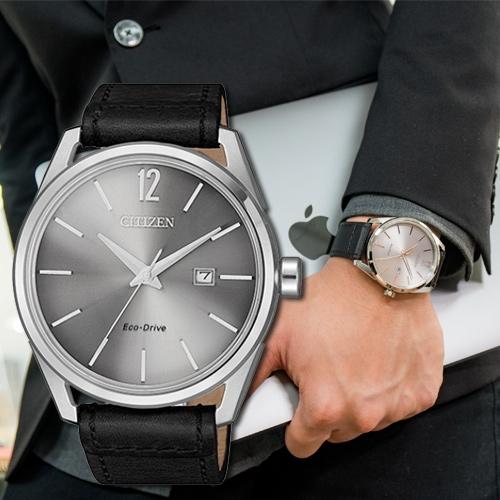 CITIZEN 星辰 Eco-Drive 銀黑品味光動能時尚腕錶 BM7411-16A 熱賣中!