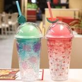 製冷杯 雙層碎冰杯夏天帶吸管的水杯塑料防摔杯子彩色喝水冰鎮制冷少女心