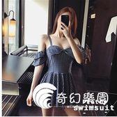 連體泳衣-韓版黑色格子吊帶蝴蝶結連體裙式連體泳衣女-奇幻樂園