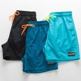 沙灘褲男海邊度假速干寬鬆大碼純色休閒運動短褲四分褲溫泉游泳褲