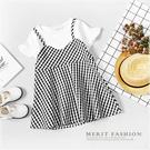 黑白格紋荷葉袖吊帶假兩件洋裝 短袖 夏天...