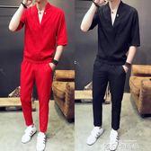 秋季短袖T恤套裝男士韓版潮流新款休閒帥氣一套衣服男裝夏裝 依凡卡時尚