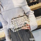 珍珠包ins包包女新款果凍包珍珠透明百搭單肩晚宴包斜挎包錬條小包  凱斯盾數位3c