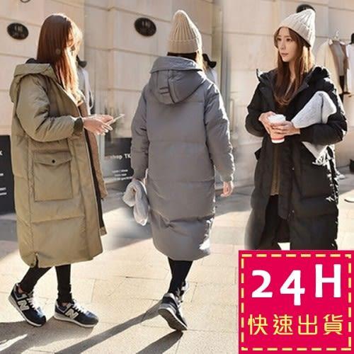梨卡★現貨 - 小中大尺碼M-3XL正韓國代購情侶可穿超長版鋪棉連帽加厚仿羽絨風衣外套長大衣A135