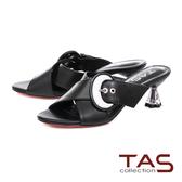 TAS 簡約交叉繫帶圓環飾扣涼拖鞋-俐落黑