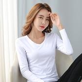 長袖T恤 打底衫S-2XL1802#純色基礎款百搭V領長袖T恤女打底衫上衣NE02韓衣裳