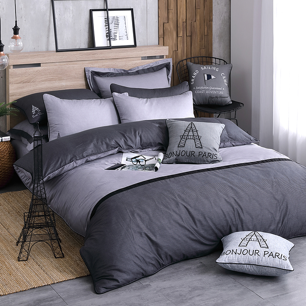 OLIVIA 【BROADEN】標準雙人5x6.2尺床包被套四件組  100%精梳純棉 設計師原創系列 工業風格 MIT