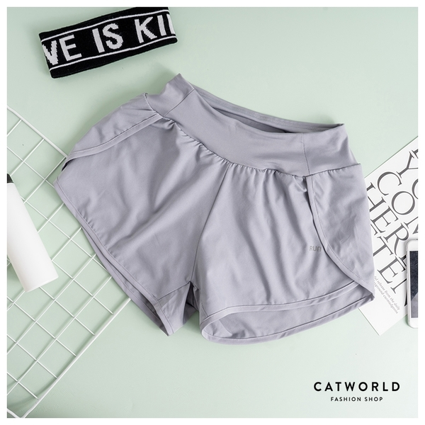 Catworld RUN寬腰頭防走光雙層運動短褲【14001261】‧S-XL