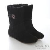 Keeley Ann華麗暖冬~鈕釦裝飾毛絨內增高雪靴 (黑)