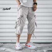 男士日系寬鬆工裝短褲潮牌加肥加大碼7分運動休閒夏季薄款七分褲