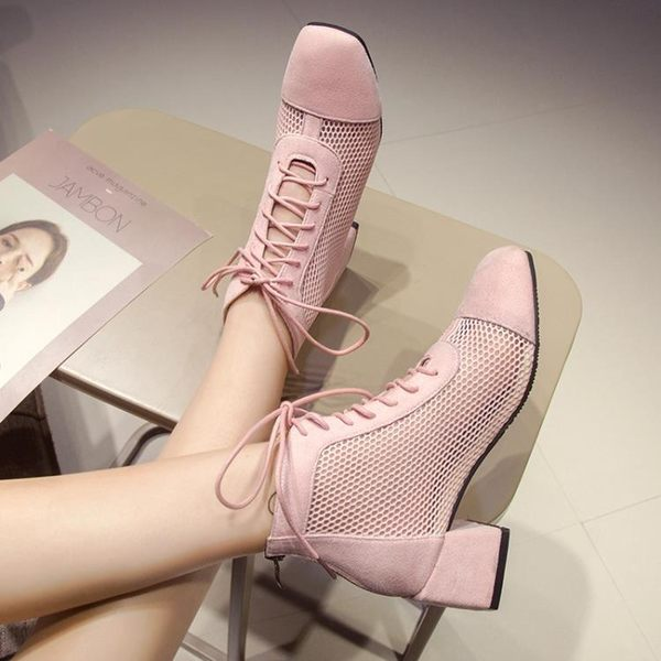 網面透氣短靴女配裙子的粗跟馬丁靴夏季新款百搭厚底鏤空涼靴