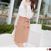 OB嚴選《CA831-》腰側打褶綁帶造型後擺圓弧開衩素色高腰包裙.2色--適 S~L