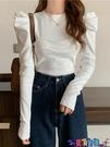 泡泡袖上衣 秋冬2021新款設計感法式小眾修身顯瘦泡泡袖打底長袖T恤上衣女裝寶貝計畫 上新