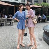 連身褲裝 連身短褲女夏季v領雪紡高腰顯瘦寬鬆寬管套裝連身褲短款-Ballet朵朵