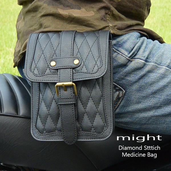 美式 腰包 哈雷掛包 might 手工 菱格紋鑽石縫線 騎士 重車 腰包 菱格車線 小腰包 MMB-883-A