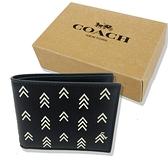 【COACH】壓印箭頭6卡男款短夾禮盒(黑)