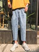 水洗復古男生牛仔褲夏季韓版寬鬆九分褲直筒百搭長褲花間公主