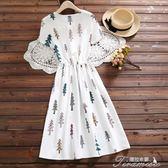 夏季新款通勤文藝風棉麻圓領繫帶收腰短袖連身裙子  提拉米蘇