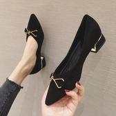 粗跟尖頭單鞋2020夏季新款仙女晚晚風溫柔中跟仙氣淑女黑色高跟鞋 非凡小鋪