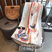 民族風圍巾波西米亞燙金孔雀 度假棉麻絲巾印花沙灘巾防曬披肩  創想數位