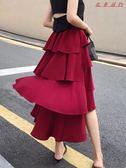 半身裙女裙子韓版酒紅色中長款蛋糕裙 衣普菈