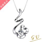 【GU鑽石】A58銀飾品925純銀項鍊生日禮物白金鋯石項鍊 Apromiz 50分幸運草鑽石項鍊 女