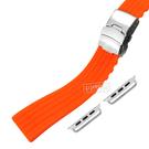Apple Watch / 38.40.42.44mm / 蘋果手錶替用錶帶 蘋果錶帶 可剪裁 不鏽鋼扣頭 矽膠錶帶 橘色 #836-12-OE-S