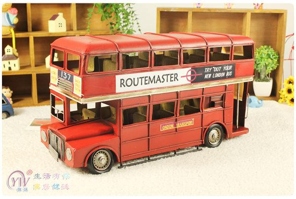 倫敦巴士 雙層鐵皮車擺件 經典紅色 仿真微縮家居模型