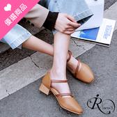 【快速出貨】復古時尚撞色釦環方頭低跟涼鞋/2色/35-42碼 (RX0514-932) iRurus 路絲時尚