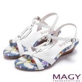 MAGY 夏日甜心 皮帶交錯造型方扣真皮楔型涼鞋-白色