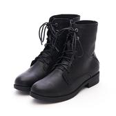 MICHELLE PARK 走路有風優雅中性羊皮綁帶拉鍊短筒靴 - 黑