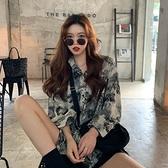 港風復古休閒長袖花襯衫上衣女裝夏季氣質外穿薄款襯衣雪紡衫外套 【端午節特惠】