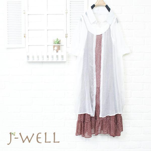 J-WELL 雪紡輕盈感長襯衫 洋裝背心三件組(組合843 8J1492白F+8J1450紅F+8W1139白M/L)