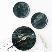 餐盤 北歐印度綠天然大理石圓形托盤西餐墊盤飾品收納盤砧板展示盤 居優佳品