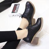 皮鞋女學院風系帶牛筋底復古粗跟中跟單鞋