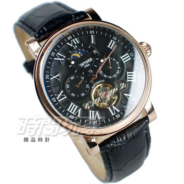KINYUED 國王鏤空機械錶 太陽月亮 羅馬陀飛輪 IP黑電鍍 皮帶 男錶 女錶 防水手錶 K047玫黑