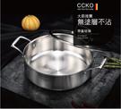 CCKO 不銹鋼不沾鍋三層複合不鏽鋼雙耳湯鍋(附蓋28cm)