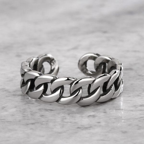 316L西德白鋼 鎖鏈造型 可調式戒圍 開口式戒指 搭配單品 中性設計 單個價【AJS087】Z.MO鈦鋼屋
