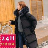 梨卡★現貨  - 韓國空運超大毛領超美中長版連帽仿羽絨鋪棉禦寒加大尺碼風衣外套大衣A422-1