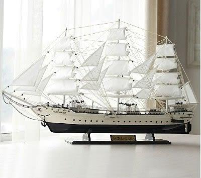 高檔帆船戰艦模型  木制擺件 地中海喬遷送禮80CM【藍星居家】