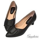 尖頭鞋 知性美人方釦中跟鞋-黑